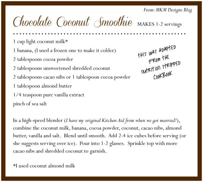 choc coconut smoothie